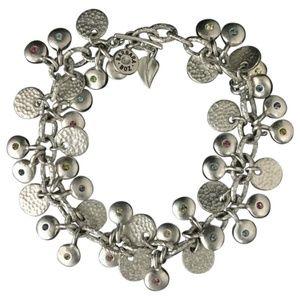 Barbara Boz Silver Disc Swarovski Crystal Bracelet